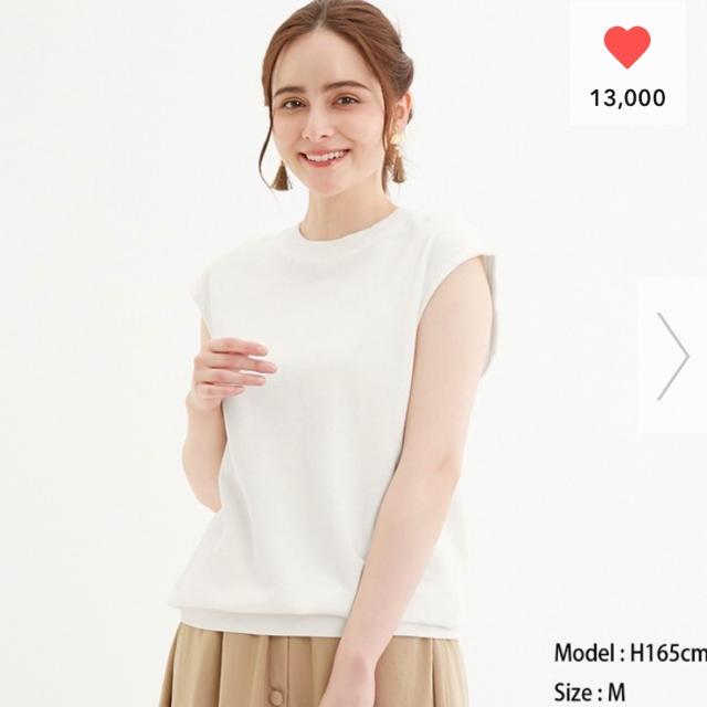 GU(ジーユー)の値下げ GU オーバーサイズウッシュドT(ノースリーブ)JN  レディースのトップス(Tシャツ(半袖/袖なし))の商品写真