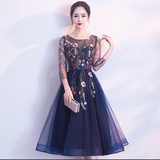 大人気!花柄レースドレス♥結婚式 ワンピース(ミディアムドレス)
