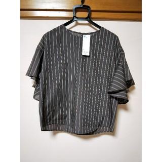 ジーユー(GU)のタイムセール♪新品未使用✾ストライプフレアスリーブブラウス(シャツ/ブラウス(半袖/袖なし))
