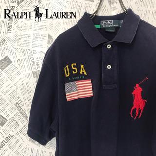 POLO RALPH LAUREN - 90s ポロラルフローレン ポロシャツ ビッグサイズポニービッグロゴUSA国旗