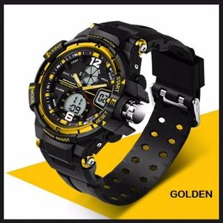 ■新品■ 金 デュアルディスプレイ 防水ダイバーズ ウォッチ(腕時計(デジタル))