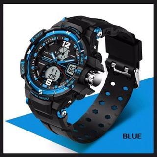 ■新品■ 青 デュアルディスプレイ 防水ダイバーズ ウォッチ(腕時計(デジタル))