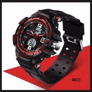■新品■ 赤 デュアルディスプレイ 防水ダイバーズ ウォッチ(腕時計(デジタル))