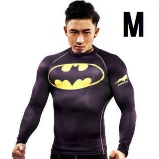 M バットマン 長袖 スポーツ Tシャツ コンプレッション ウェア 黒 インナー
