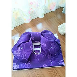 浴衣 作り帯 紫 桜 新品未使用(浴衣)
