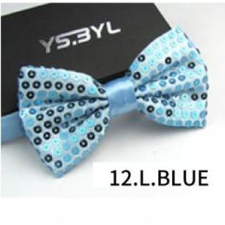 ◇新品 送料無料◇蝶ネクタイ 蝶タイ◇スパンコール◇カラー:L.BLUE(ネクタイ)