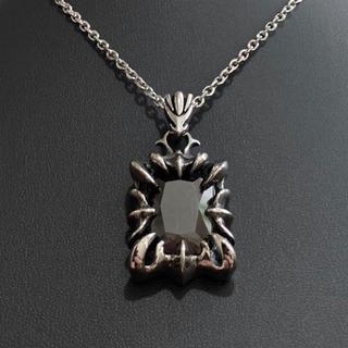 STAINLESS STEELブラッククリスタルネックレス シルバーネックレス(ネックレス)
