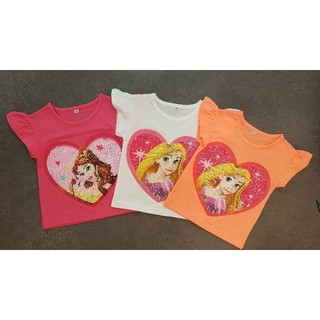 Disney - 韓国子供服スパンコールプリンセスラプンツェルベルTシャツ