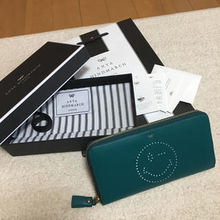 アニヤハインドマーチ(ANYA HINDMARCH)のアニヤハインドマーチ 長財布 グリーン にこちゃん 新品 スマイル(財布)