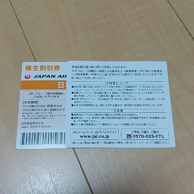 JAL(日本航空)(ジャル(ニホンコウクウ))の日本航空 JAL株主割引券 2枚 チケットの乗車券/交通券(航空券)の商品写真