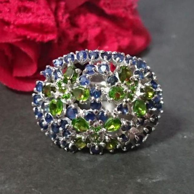 クロムダイオプサイト ブルーサファイア リング シルバー 蝶 バタフライ レディースのアクセサリー(リング(指輪))の商品写真