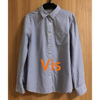 ヴィス(ViS)の美品 Vis ビス 長袖 ストライプシャツ オフィス 通勤 仕事(シャツ/ブラウス(長袖/七分))