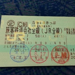 ジェイアール(JR)の青春18きっぷ 2回分 返却不要(鉄道乗車券)