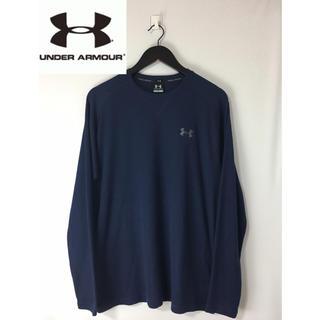 UNDER ARMOUR - アンダーアーマー 長袖 刺繍ロゴサーマルTシャツ ロンT ネイビー 紺 L