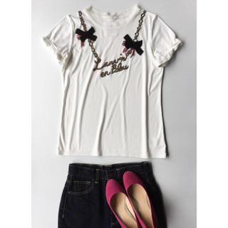 ランバンオンブルー(LANVIN en Bleu)のランバン オン ブルー パンキッシュなビジュー付きTシャツ F(Tシャツ(半袖/袖なし))
