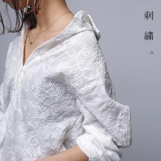 アンティカ(antiqua)の新品☆【antiqua】ペイズリー 刺繍 シャツ オフホワイト 【アンティカ】(シャツ/ブラウス(長袖/七分))