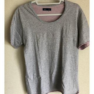シップス(SHIPS)のSHIPS 半袖カットソー Lサイズ グレー×ピンク(Tシャツ/カットソー(半袖/袖なし))