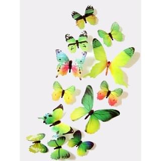 3D バタフライ 蝶 ウォール ステッカー グリーン 12枚入り 立体 壁