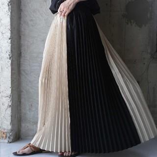 antiqua バイカラープリーツロングスカート