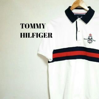 TOMMY HILFIGER - トレンド☆トミーヒルフィガー ポロシャツトリコロール 刺繍ロゴ メンズ