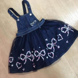 mezzo piano - メゾピアノ☆刺繍チュールジャンパースカート☆110