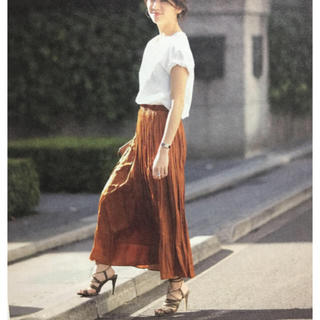トゥデイフル(TODAYFUL)のロングギャザースカート オレンジ(ロングスカート)