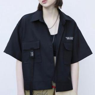 mixxmix - 韓国ブランド アナザーユース 男女兼用シャツ ブラック