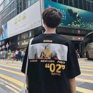 韓国ファッション ビッグシルエット プリント Tシャツ ブラック