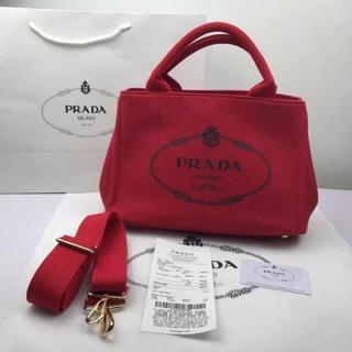 PRADA - プラダ 2way カナパ トートバッグ 赤 レッド