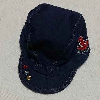 ミキハウス(mikihouse)のmikihouse ネイビー乳幼児水泳帽子 フリーサイズ48cm~52cm(水着)