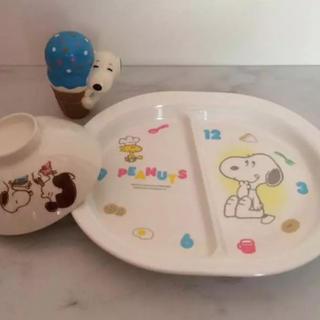 スヌーピー(SNOOPY)のスヌーピー お茶碗 ランチプレート 食器 2点セット (オマケおもちゃ付き)(食器)
