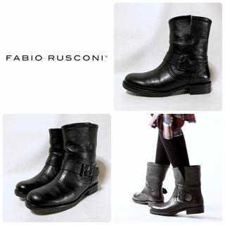 FABIO RUSCONI - ■定4.2万 ファビオルスコーニ ショートブーツ 39 24.5 黒 エンジニア