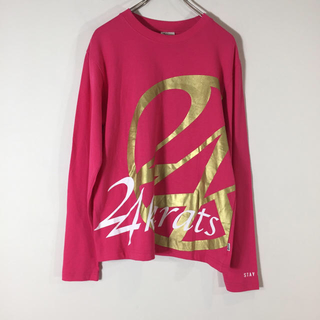 トゥエンティーフォーカラッツ(24karats)の24karats ロングTシャツ 長袖 ピンク Mサイズ デカロゴ メンズ(Tシャツ/カットソー(七分/長袖))