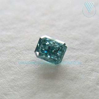 0.090 ct F. V. Blue Green 天然 グリーン ダイヤ(リング(指輪))