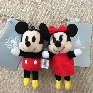 Disney - ディズニー ぬいぐるみバッジ☆プラッシュキーチェーン ミッキー&ミニー