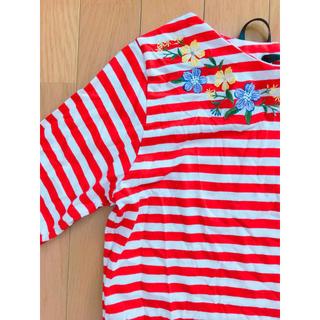 赤ボーダー♡花柄刺繍(Tシャツ(長袖/七分))