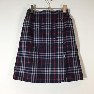 BURBERRY - 美品 バーバリー 巻きスカート チェック柄 L サイドゴム 膝丈 ノバチェック