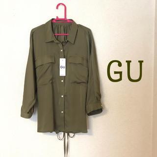 GU - GU サテンダブルポケットブラウス(七分袖) 新品