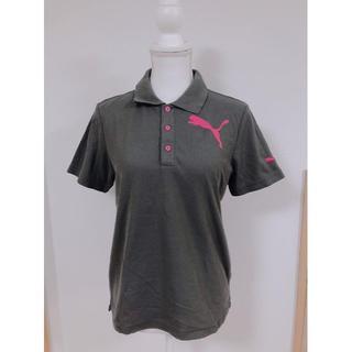プーマ(PUMA)のPUMAプーマポロシャツピンクグレー襟付きシャツロゴメンズ半袖Tシャツ(ポロシャツ)