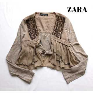 ザラ(ZARA)のザラ★インド綿 ショート丈カーディガン S エスニック ビーズ装飾 羽織(カーディガン)