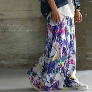 antiqua タグ付 アート花柄 ロングスカート