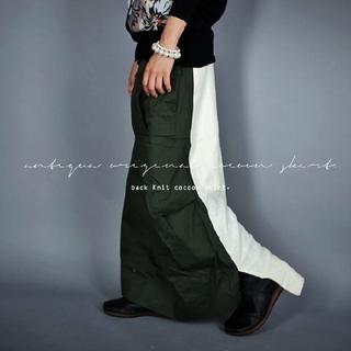 antiqua - antiqua 異素材切り替 変形スカート