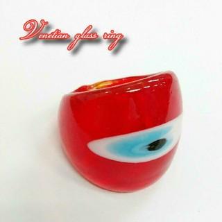 VR16 レッド系 ベネチアン ガラス リング ベネチアリング 指輪(リング(指輪))