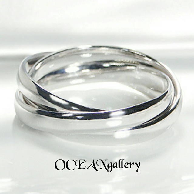 送料無料 24号 シルバーサージカルステンレス三連リング 指輪 トリニティリング レディースのアクセサリー(リング(指輪))の商品写真