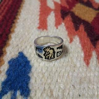 インディアン(Indian)のインディアンジュエリー ホピ族 ココペリ オーバーレイ シルバーリング 指輪(リング(指輪))