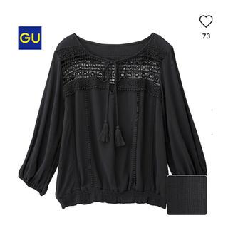 GU - 美品 GU ボヘミアンブラウス ブラック