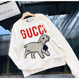 グッチ(Gucci)の【GUCCI】ラム パッチ付き オーバーサイズ スウェットシャツ(トレーナー/スウェット)