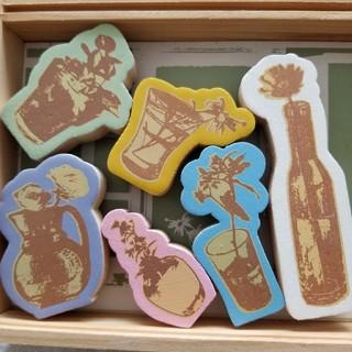 mina perhonen - アメリカで購入/フラワーモチーフスタンプセット新品/Wooden Flowers