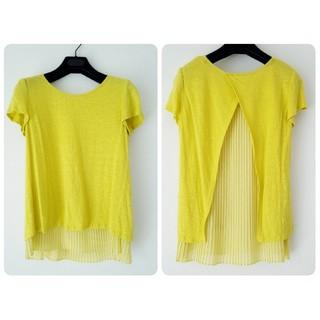 アナイ(ANAYI)の定価約25,000 麻 黄色レース プリーツ XS S M カットソー Tシャツ(Tシャツ(半袖/袖なし))
