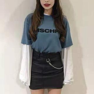 mischief    MISCHF ブルー Tシャツ 韓国大人気 トップス